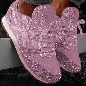 Sneakers de marche taille pour les chaussures blanches de luxe scintillant de luxe 35-43 plate-forme de tennis occasionnel Vwulh