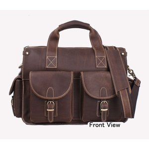 Men's Business Briefcase Genuine Leather Shoulder Bags Men Crossbody Messenger Bags Laptop Handbag 14 inch laptop
