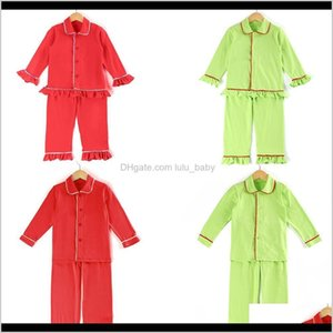 Kids Pjs Girls Sleepwear Frill Pyjamas 100 Cotton Buttons Up Solid Boys Christmas Pajamas Y200704 3Bhpq Blelj