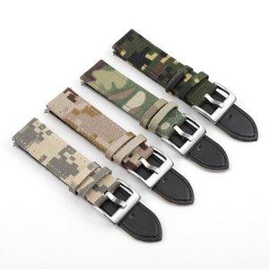 Bandes de montre Bandes de camouflage militaire Bande de canvas 20 22mm Armée Sangle imperméable pour / de montres de plongeur