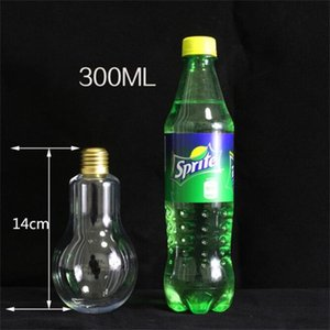 New LED Light Bulb Water Bottle Plastic Milk Juice Water Bottle Disposable Leak-proof Drink Cup With Lid Creative Drinkware Wholesale 416 V2