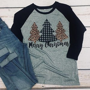 Merry Christmas Trees Print Holiday Tshirts Long Sleeve Women Shirt Plus Size Tee Gothic Graphic Top Thanksgiving 2021 Women's T-Shirt