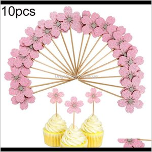 Other Festive Supplies 10Pcs Cherry Blossom Glitter Cupcake Cake Topper Wedding Birthday Party Decor Accessary Jcrhg Xt18M