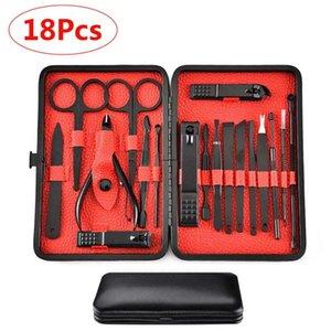 Nail Art Kits 18 Pcs Professional Cutter Pedicure Scissors Set Stainless Steel Eagle Hook Portable Manicure Clipper Tool