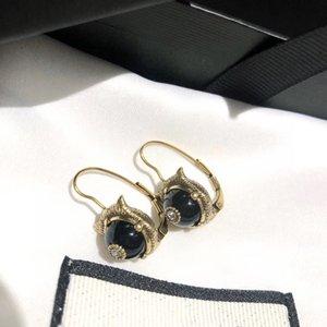 New retro leopard head single diamond fashion personality designer earrings luxury designer jewelry women earrings