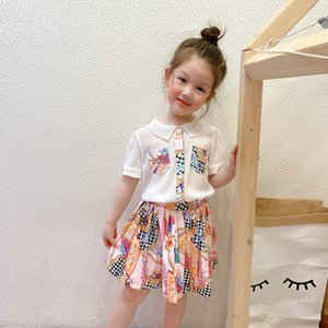 Luxury Girls  princess dress fold lapel short sleeve Dresses summer children printed pleated dress kids  clothing S1005