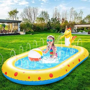 4 in 1 Inflatable PVC Splash Swimming Pool for Baby Kids Summer Swimming Pool Party Outdoor Beach Lawn Toys 170cmx110cm X0710