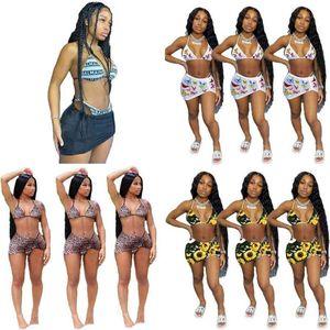Damen 3 Stück Badebekleidung Bikini mit Kurzem Hemd Kleid Schwimmen Anzug Leopard Sonnenblume Schmetterling Sport Shorts Anzug Bikinis Outfits G35R274