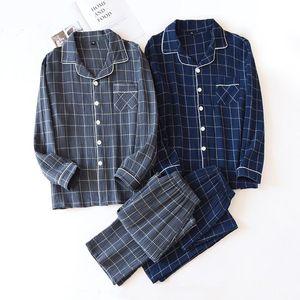 Men Long-sleeved Trousers Pajamas Cotton Crepe Plaid Pajama Set Mens Lounge Wear Soft Loose Night Pijamas Home Sleepwear Men's