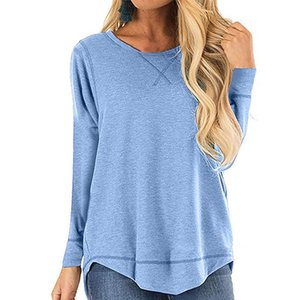 Women's Blouses & Shirts 2021 Autumn And Winter O Neck Crew Long-sleeve T-shirt Solid Color Loose-fit Top Front Short Long Back Tuxedo