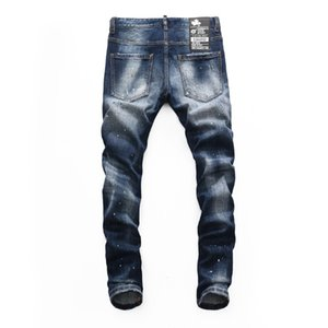 Men's autumn and winter youth fashion D2 dark blue good edition jeans men's trousers 8261
