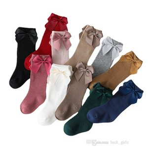 INS girls ribbon Bows socks 2021 palace style children cotton knit 3 4 knee sock autumn kids soft breathable stocking 0D184