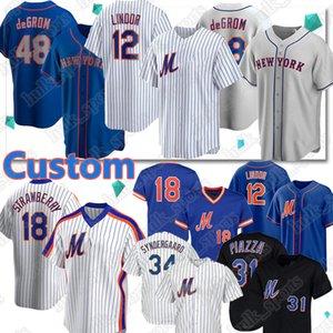 12 Francisco Lindor Baseball Jerseys 48 Jacob deGrom 20 Pete Alonso 18 Darryl Strawberry 31 Mike Piazza Noah Syndergaard jersey