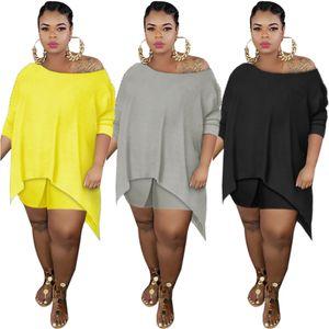 3colors Hot selling women Nightclub clothing 2021 summer new Designer casual fashion slant shoulder irregular top slim pants Two-piece sets