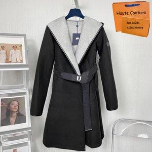 Lungo autunno autunno inverno donne soprabito moda calda giacche parka lettera casual stampa stampa signora cappotto flessibile di alta qualità outwear con cintura