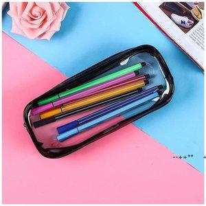 PVC Pencil Bag Zipper Pouch School Students Clear Transparent Waterproof Plastic PVC Storage Box Pen Case EWD10429