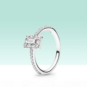 NEW Sparkling Square Halo Ring summer for Pandora Sterling Silver 18K Rose gold CZ diamond Women Wedding Rings set with Original box