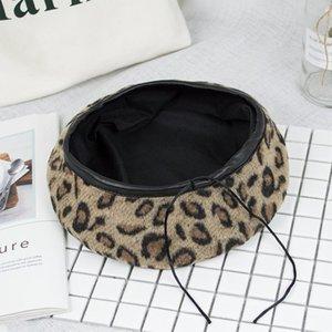 Sıcak kadın şapka tutmak için Sevimli Bere Vintage Şapka Kadınlar Için Leopar Keçe Şapka Beanie Woolen Kış Şapka 2020 Kadın Bere Vizör