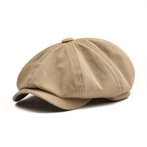 Botvela Grande grande Bolsa Boné Homens de Algodão de Algodão Oito Painel Chapéu Mulheres Baker Caps Khaki Retro Chapéus Masculino Boina Beret 003