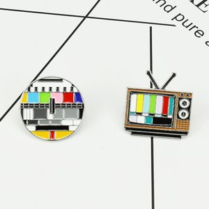 Japanese and Korean creative brooch jewelry fashion cartoon color TV channel no signal pin