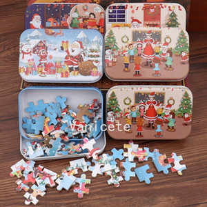 Christmas decoration DIY small gift 60 piece children's manual Santa Claus Puzzle wooden kindergarten gift T2I52466