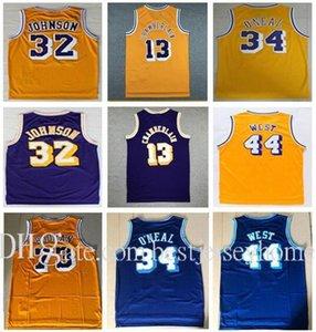 Vintage 73# Rodman Shaquille #32 Johnson Jersey #34 O Neal Jersey Purple Yellow 13# Wilt Chamberlain Jerry 44# West Basketball Jersey