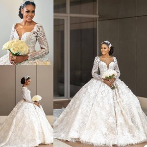 Vestido De Noiva 2021 Vintage Ball Gown Wedding Dresses Illusion Lace Appliques Long Dubai Arabic Bridal Gowns For Women