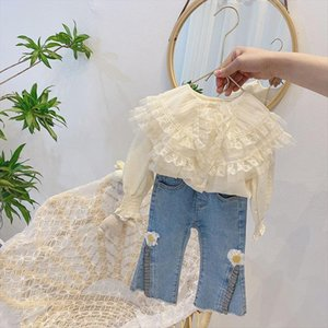 Baby Girl Long Sleeve Tops Lace Girls Blouse Children Clothes Spring Autumn Toddler Beige Shirts