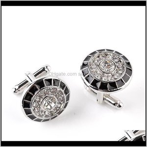 & Tie Clasps, Tacks Drop Delivery 2021 Gentleman Diamond Cufflinks Round Business Suit Shirt Cuff Links Button For Men Fashion Jewelry Will A