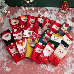 Socks female winter tube college style cotton thread Autumn New Year red lovely Korean Christmas cartoon socks