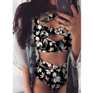 Women Batsuit Sexy Hollow Out Bikini Sets Flower Printer High Taille Badmode Biquini Beachwear Summer Cross Bandage Women Bikini 18