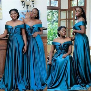 2021 Stunning Teal V neck Off Shoulder Bridesmaids Dresses South African Empire Cap Sleees Satin Pleated Backless Plus size Prom Evening Party Dress