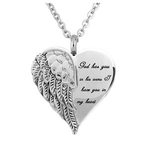 Angel Wing Hold Heart Cremation Urn Necklace Keepsake Memroial Jewelry For Ash Pendant Necklaces
