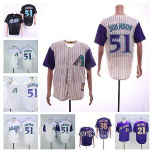 Personalizado retro diamondbacks hombres mujeres jóvenes Arizona Jersey 51 Randy Johnson 38 Curt Schilling 21 Greinke 44 Paul Goldschmidt Jerseys de béisbol
