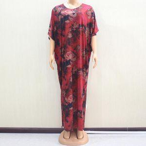 Этническая одежда Африканский плюс размер бордовый длинные афики платье халат женщины о-шеи с коротким рукавом цветочные одежды