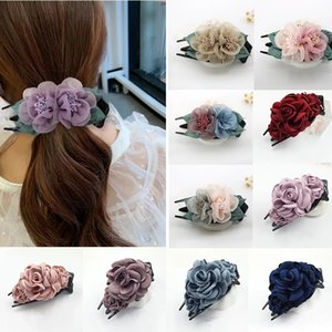 Women Hair Claw Clamps Cloth Floral Crabs Fashion Hair Claw Clip Flower Hairpin Beaded Hair Accessories For Women Girls