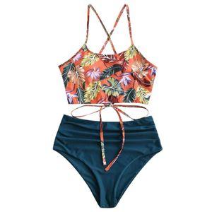 Sexy Leaf Print Bikini Set For Women Push Up Plus Size Swimsuit High Waist Brazilian Swimming Suits Bathing Suit#fs Women's Swimwear