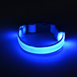 8Colors 4Sizes Night Safety LED Light Flashing Glow Nylon Pet Dog Collar Small Medium Dog Pet Leash Dog Collar Flashing Safety Collar 598 R2
