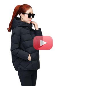 2021 Новые Черные Мода Пуховые Пальто Зимние Капюшоны Хлопковое пальто Свободные Куртки Женщины Короткие Пуховики Повседневная Женская Верхняя одежда