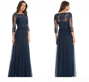 Dark Navy Elegant Sheer Long Sleeve Mother of the Bride Dresses Lace Appliques A Line Tulle Long Evening Gowns Custom Made Mother Dresses