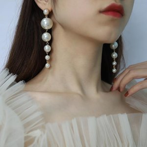 Dangle & Chandelier 2021 Simple Round Pearl Geometric Jewelry Ring For Women Engagement Wedding Gift Ear Long Pendant Studs Earring