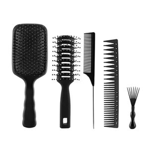 Hair Brushes 5pcs Men Women Professional Grooming Anti Static Shaping Hairdressing Home ABS Styling Comb Set Salon Pintail Brush Cutting
