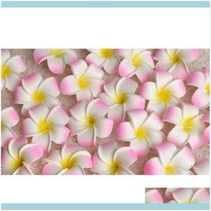 Decorative Flowers Wreaths Festive Supplies Home & Garden100Pcs 7Cm Wholesale Plumeria Hawaiian Foam Frangipani For Wedding Party Hair Clip