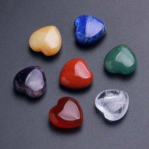 حجر الكريستال الطبيعي الخرز شكل قلب الأحجار الكريمة الحلي 7 قطعة / المجموعة اليوغا الطاقة الحجارة الحرف الديكورات المنزلية GGA5144