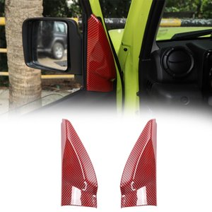 Red Carbon Fiber Front Window A Pillar Triangle Decoration Bezel Cover Stickers for Suzuki Jimny 19+ Interior Accessories