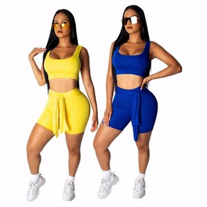 Womens Tracksuits Sets Solid Sport Fashion Two Piece Set Short Tank Tee Top Shorts Suit Casual Tracksuit Outfit 2 Color Women's