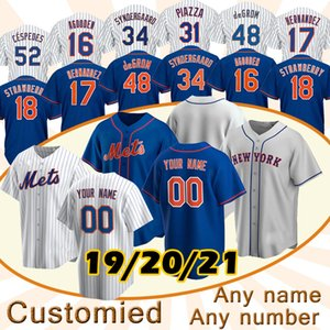Custom New Men York 12 Francisco Lindor Mets Jersey 48 Jacob Grom Jerseys 20 Pete Alonso Darryl Strawberry Mike Piazza Hernández Rosario Stroman