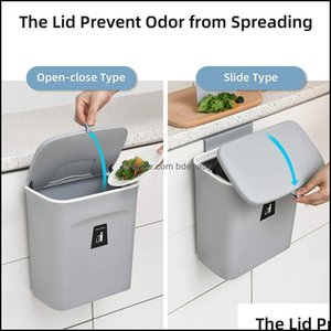 Household Cleaning Tools Housekee Organization Home & Garden9L Hanging Trash Can For Kitchen Cabinet Door With Lid Small Under Sink Garbage