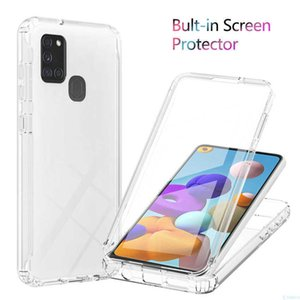 A21S 360 Full Body Screen Protector Transparent Case For Samsung Galaxy A21S Gradient Color Shockproof Phone Cover Clear Fundas