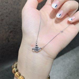 Zirconia cúbica de moda Saturno Colgante 925 Collares de cadena de plata esterlina para mujeres niñas Cz Collares Collar Joyería 944 Q2